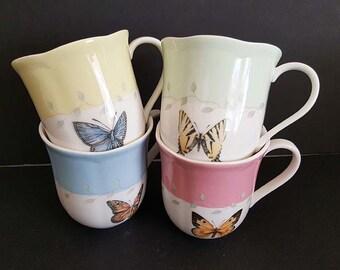 Lenox Butterfly Meadow Tea Coffee Cups Set Of 4