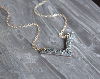 Crushed Crystal Little V Necklace - As Seen On Arrow