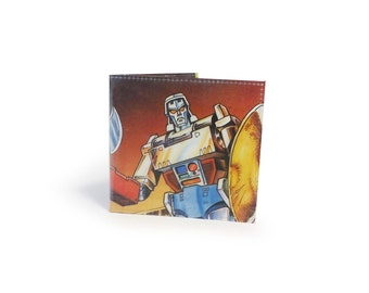 Transformers Wallet - Vintage 80s Comic Book Page in PVC - Mens wallet, boys wallet, retro wallet