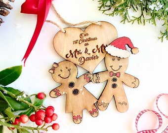 Our first christmas as Mr and Mrs , Newly wed christmas decoration, Just married christmas decoration, Personalsied wedding gift