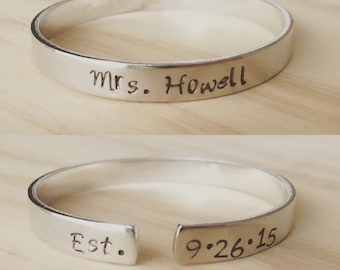 Mrs. cuff bracelet, mrs. jewelry, wedding bracelet, bride jewelry, bride bracelet, gift for the bride, bridal shower gift, wedding gift