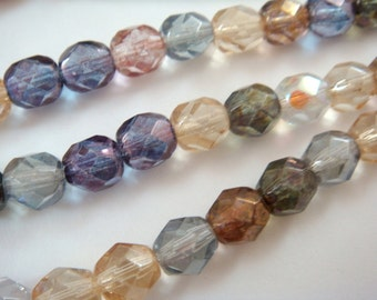 25 Czech Glass Luster Mix 6mm Round Transparent Faceted Beads 1mm hole - 25 pc -  G6035-LM25