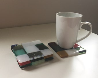 REDUCED PRICE! Set of 4 glass drinks coasters 'Harlequin'