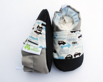 Classic Vegan Traffic in Blue and Gray / Non-Slip Soft Sole Baby Shoes / Made to Order / Cars Babies Toddler Preschool