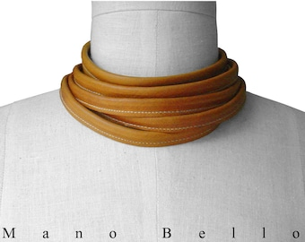 Leather wrap chokers, Minimalist Leather Choker, 6 Wrap Leather Necklace, Honey Tan Leather Skinny Scarf, Men, Women, custom made to fit