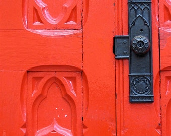 Red Church Door Photograph - 5x7 Architecture Art Photo - Church Architecture Photography - Black Iron Doorknob - Vintage Building - Scarlet