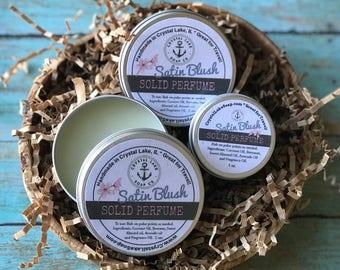 SATIN BLUSH Solid Perfume Tin - Great for Travel, Purse & Pocket. Subtle Feminine Cologne