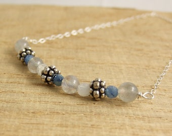 Necklace with Moonstone, Kyanite Quatz, Labradorite and Bali Beads Wire Wrapped with Sterling Silver Wire CDN-730