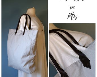Linen and a bit of sand leather tote bag