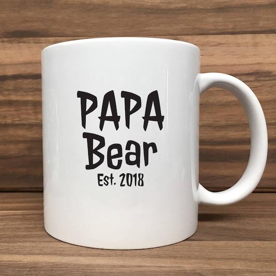 Coffee Mug - Papa Bear with Est. Date - Double Sided Printing 11 oz Mug