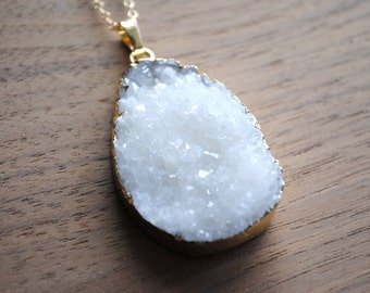 "Long Druzy Necklace - White Druse Crystal with Gold Edge on 30"" 14k Delicate Gold Filled Chain"
