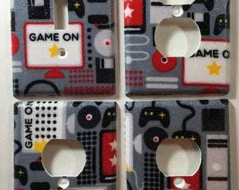 Video Games and Computers Light Switch Plate Outlet Cover Wall Decor Bundle Set