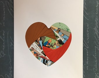 Iris folded heart shape greeting card - Tin Tin book pages with red and brown