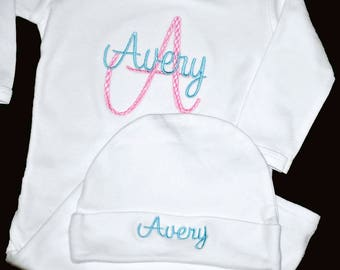 Baby Take Home Outfit, Monogrammed Baby Gown and Hat, Baby Girl Gift, Personalized Baby Gown and Hat, Coming Home Outfit, Newborn Baby Gown
