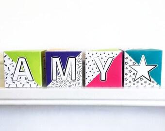 Baby name blocks, Printable letter blocks for Nursery, abc blocks for nursery decor, Custom name blocks, alphabet blocks, Instant download.