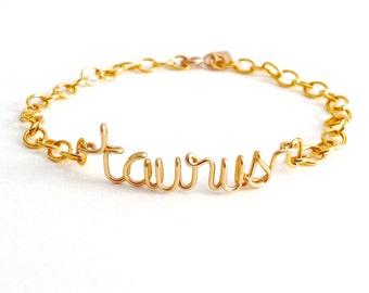 Zodiac Sign Bracelet. Taurus Bracelet. Astrology gold bracelet. 14k Gold filled Word Name Bracelet. Aziza Jewelry.