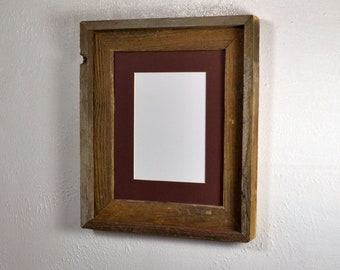 """5"""" x 7"""" brown mat in 8x10 wood frame,complete with glass,mat,backing and hardware free shipping"""