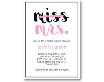 From Miss To Mrs Bridal Shower Invitations | From Ms to Mrs | Modern Bridal Shower Invitation | From Miss to Mrs Invitations | Chic Shower