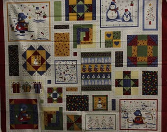 """Wintertime by Little Quilts Christmas blocks quilt panel 34"""" long  42""""-44""""wide 100% cotton Peter Pan fabrics"""
