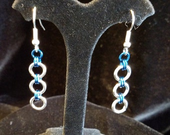 Silver and Turquoise Color Chain Maille Earrings