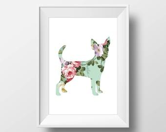 Chihuahua Floral Print, Chihuahua Print, Chihuahua art, Dog decor, Dog lover gift, Chihuahua Wall Art, Vintage Floral, Victorian
