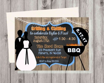 Digital Rustic Wooden BBQ Barbecue Couples Wedding Shower Cookout Printable Invitation