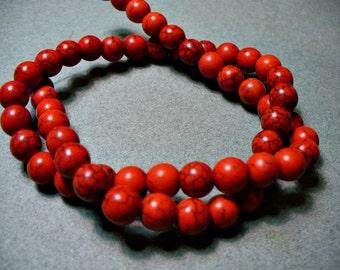 Magnesite Beads Gemstone Red  6mm
