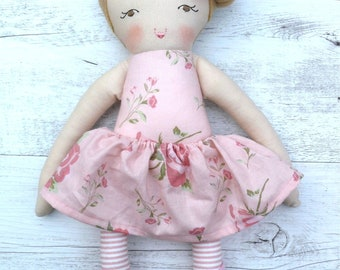 "Vivian - Handmade rag doll, 38cm (15""), fabric doll, cloth doll, gifts for girls."