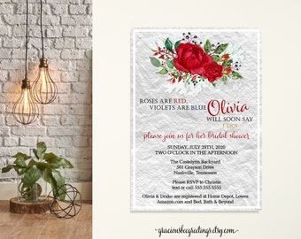 Bridal Shower Invitation, Roses are Red Bridal Shower, Brides Lunch, Wedding Invitation, Vow Renewal, Silver, Red, Invitation, Printable
