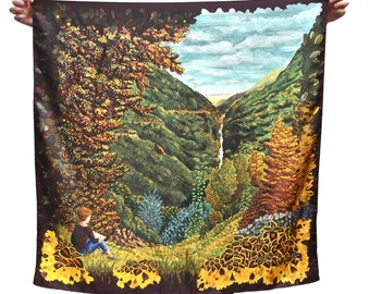Twill of silk's scarf, square, landscape, hand-drawn, flowers, plants, yellow and orange