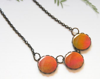 Chunky bib necklace, Orange necklace, Glass dome necklace, Trio necklace, Boho jewelry for women, 5089-4, Mother's day gift