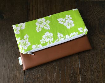 Hawaiian Print Fold Over Clutch with Vegan Leather Bottom