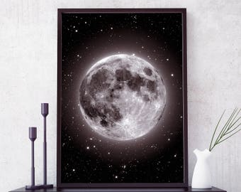 Moon Print, Moon Poster, La Luna Print, Planet Wall Art, Moon Photo, Moon Art, Full Moon Poster. Black and white moon print. Free shipping.