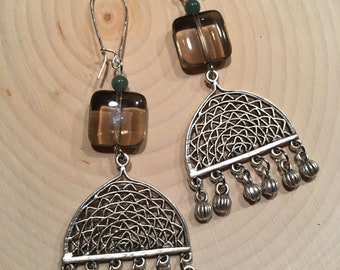 Earrings Dangle Chandelier Pewter with Smokey Quartz and Green Aventurine Gemstone Beads