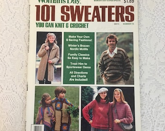 Woman's Day 101 Sweaters You Can Knit and Crochet,  vintage magazine, craft patterns, yarn crafts