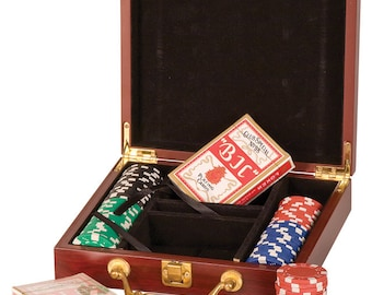Custom Personalized Engraved 100 Chip Poker Set -  BRAND NEW