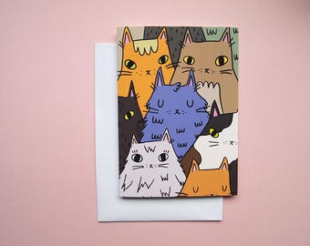 Cat greetings card - Blank card - Cat Card - Cat birthday card - Cat Thank you card - Cat mothers day card - Cat illustration - Cats - card