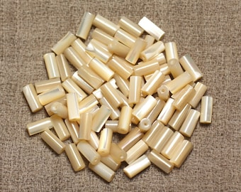 39cm 46pc env - beige natural Pearls Pearl iridescent thread Tubes 8x4mm