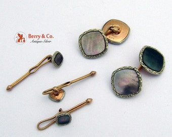 SaLe! sALe! Art Deco Cufflinks and Stud Buttons 14 K Gold Shell