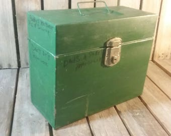 Green File Box, Old File Box, Industrial Box, Storage Box, Metal Box, Stash Box,