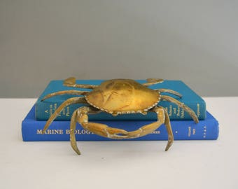 Brass Crab Figurine Box - Sculpture Vintage Ashtray Trinket Dish Ring Holder Coastal Nautical Decor Fisherman Bookshelf Mantle