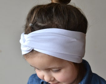 White Turban Headband, Baby Headband, Headwrap, Baby Turban, Twist Headband, Baby Shower Gift, Adult Headband, Boho Headband