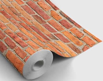 Red Brick Peel and Stick Wallpaper | Peel and Stick Temporary Wallpaper | Removable Wall Sticker