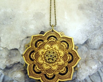 Mandala Necklace, Geometric necklace, lasercut jewelery, statement necklace, sacred geometry jewelry, wood necklace, flower of life