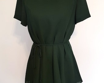 Vintage forest green tiered dress