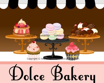 Illustrated Premade Logo design  - Dolce Bakery - Bakery Cupcake Boutique
