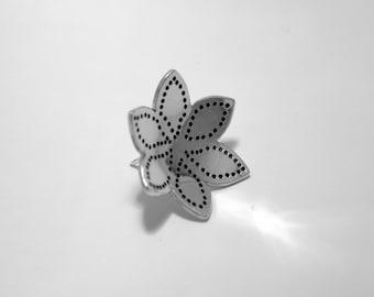 Starflower Brooch Pin - Handmade - Sterling Silver