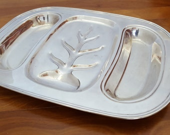 Gorgeous Vintage ENGLISH SILVER 3 Part Serving Tray with Meat Tree Well