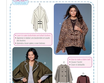 McCall's Pattern M7664 Misses' Capes and Belt with Closure Options