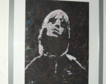 liam gallagher, oasis,..20x16 ins.mounted, framed  original painting .ready to hang b
